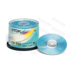 TDK CD lemez CD-R80 52x 50db/Henger
