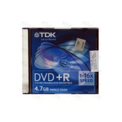 TDK DVD lemez +R 4.7GB 16x 10db/Csomag Slim Tok